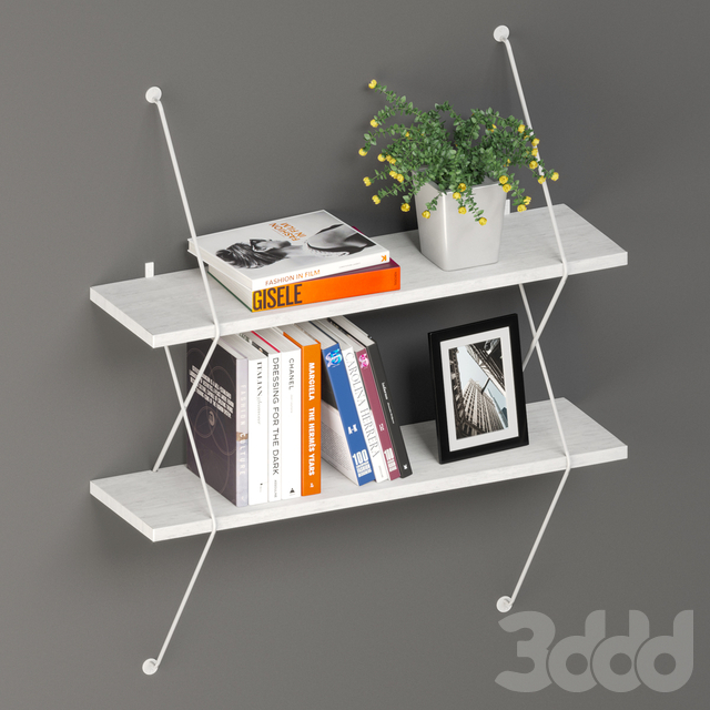 Two Level White Shelving System
