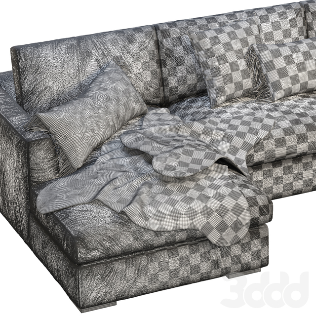 RH Modena Taper Arm U-Chaise sectional sofa