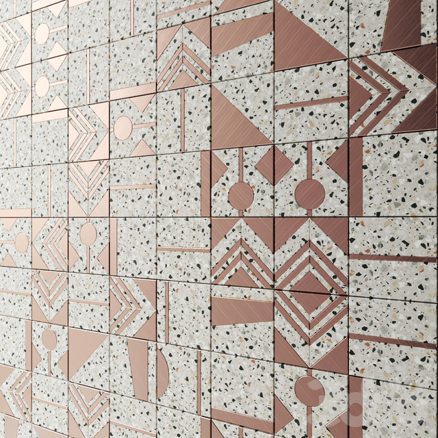 Плитка из терраццо с латунными вставками от фабрики Madique