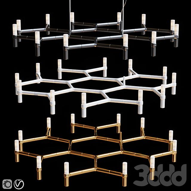Equinox set chandeliers Gold, Black, White