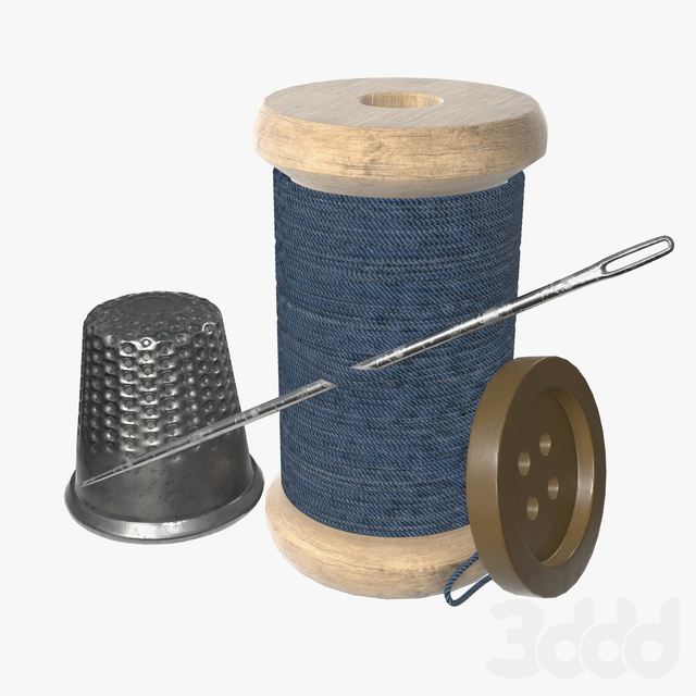 Thread needle button thimble coil