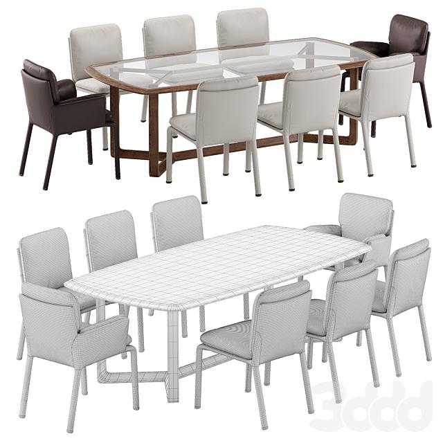 Natuzzi Ambra chair Amber table set