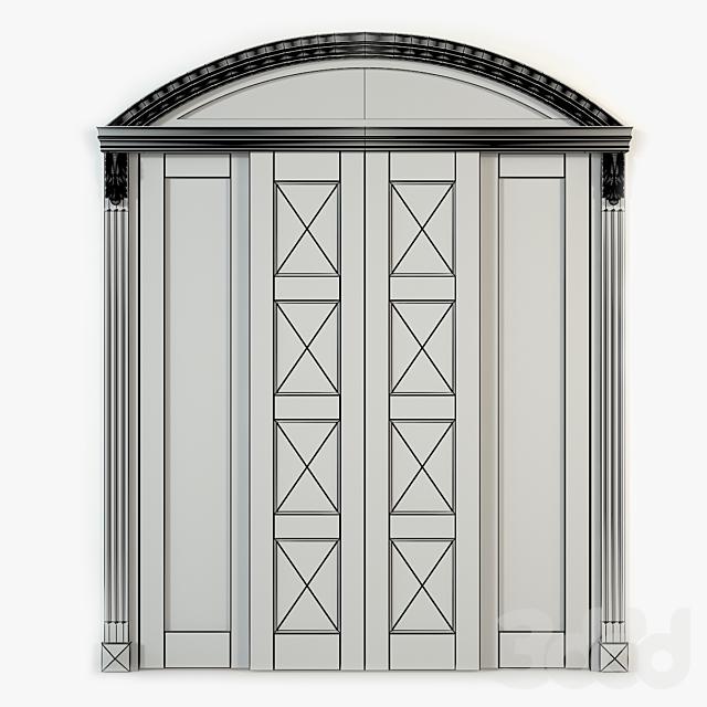 Раздвижная двустворчатая арочная дверь