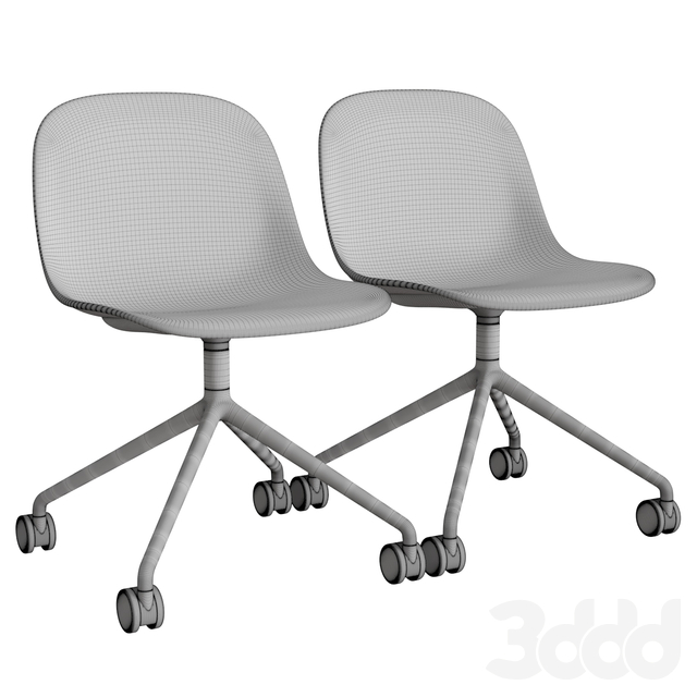 Fiber Side Chair Swivel W.Castors