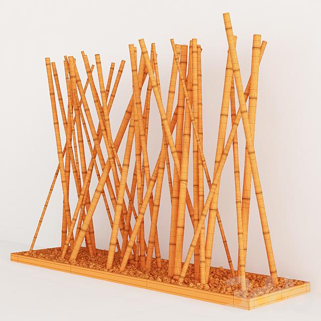 Декор из бамбука на основании доски с галькой