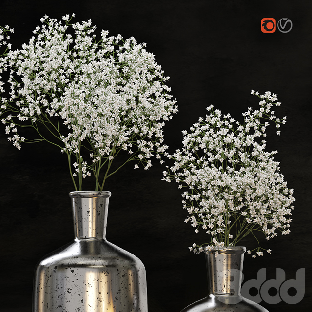 Decorative set with gypsophila flower and candles