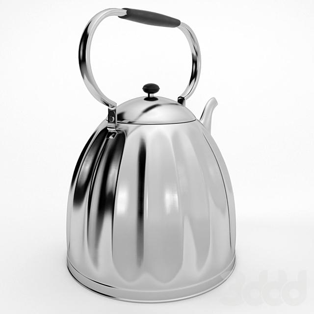 Большой классический никелированный чайник