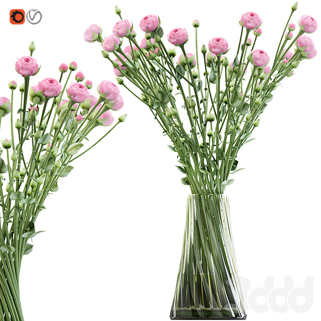 Swirling bouquet of small pink shrub roses in a vase with water
