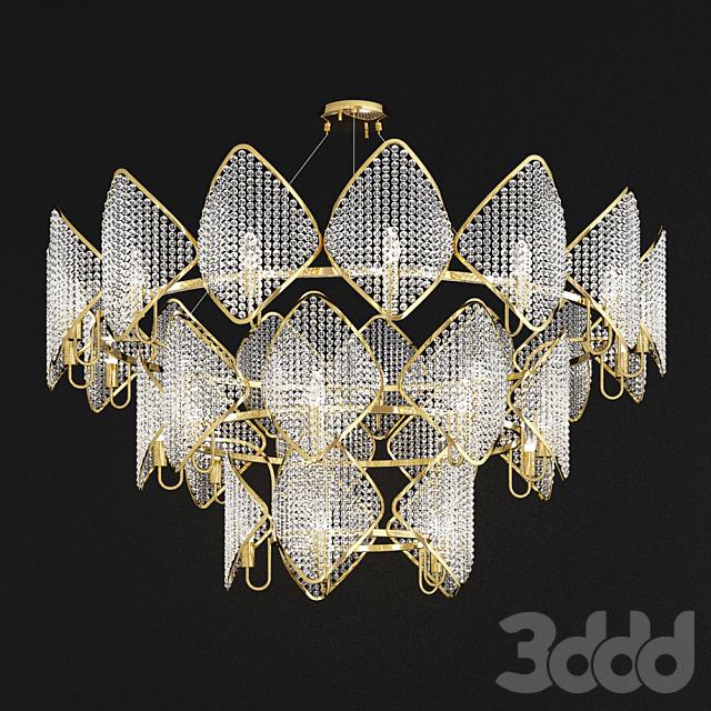 Ritz - Crystall Leaf Chandelier 29 gold