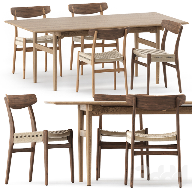 CH327 DINING TABLE, CH23 CHAIR by Carl Hansen & Son