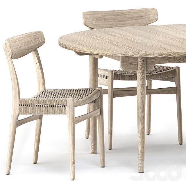 CH337 DINING TABLE, CH23 CHAIR by Carl Hansen & Son