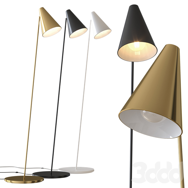 Task Polished Brass Floor Lamp CB2 Exclusive