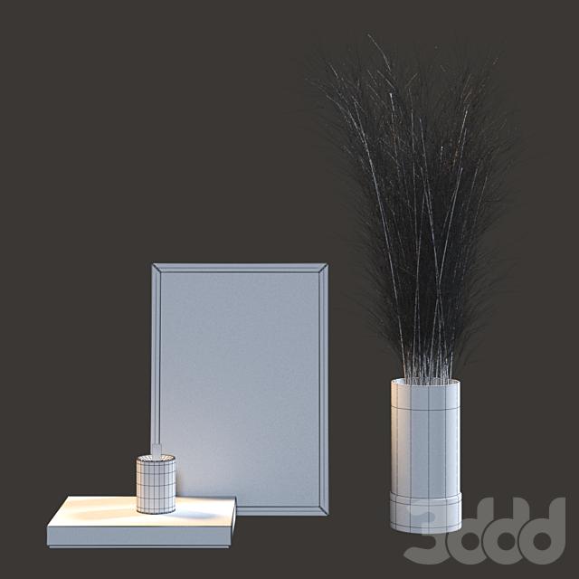 Декоративный набор с сухими ветками в стеклянной вазе