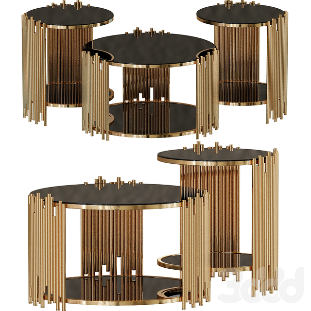 SMC Floating Coffee Table in Gold Finish