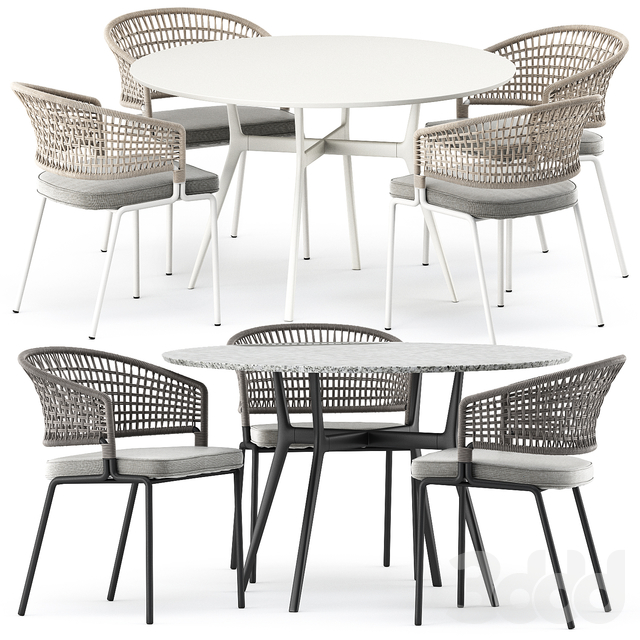 BRANCH bistro table, CTR armchair by Tribu
