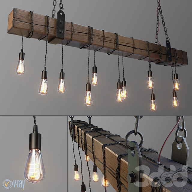 Wood Beam Chandelier With Vintage Style Edison Bulbs