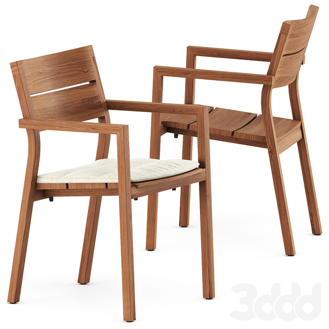 KOS armchair, Kos Teak Table by Tribu