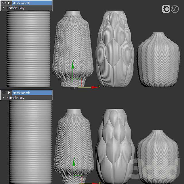 Amazing glass vases set for interior