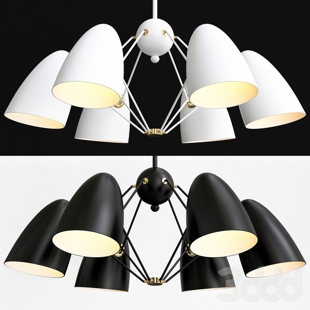 JLYLITE 6-Light Sputnik Black + White