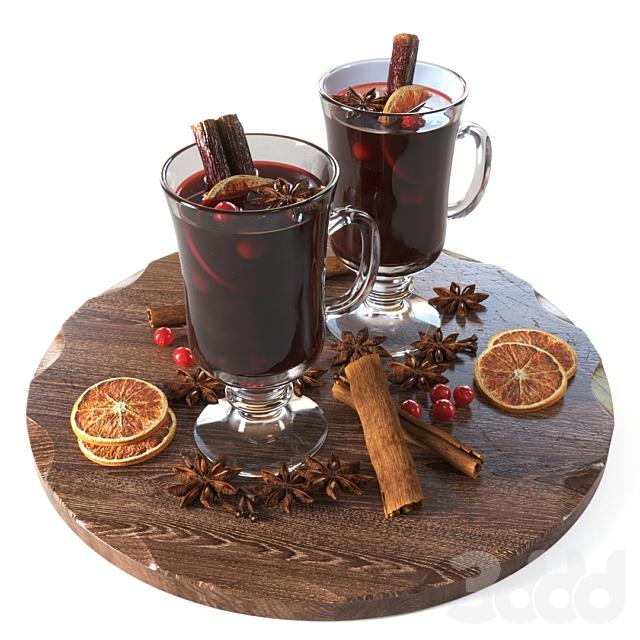 Чашки с глинтвейном и специями