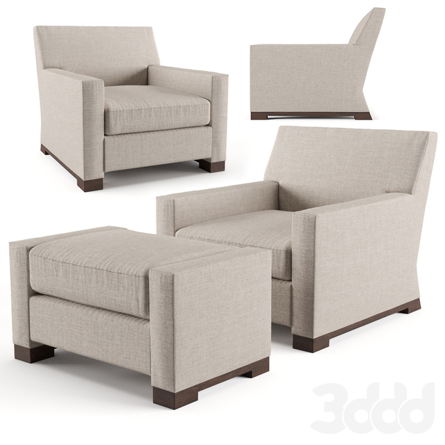 Baker Wedge Club Chair and Ottoman