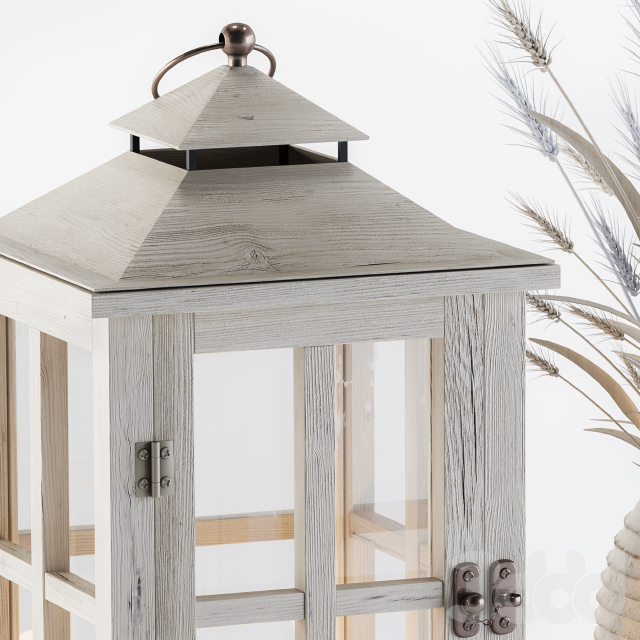 Decorative Blue Wheat & Lantern