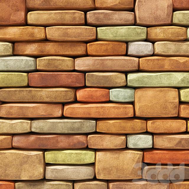 Brick granite color stone many part / Кирпичная цветная декоративная стена
