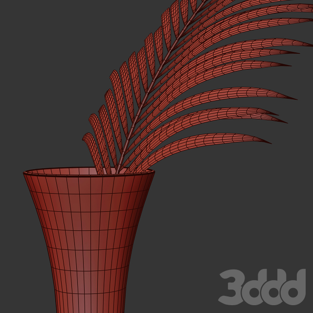 Glass vase with exotic Howea plant
