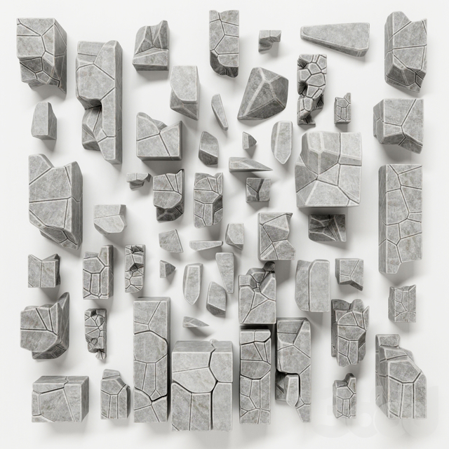 Stone splinter decoration n1 / Каменные декоративные обломки