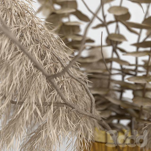 Декоративный набор с сухими растениями темный декор