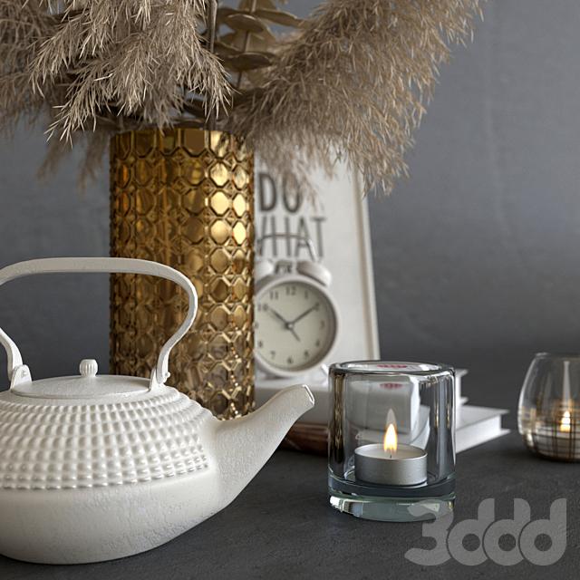 Декоративный набор с сухими растениями светлый декор