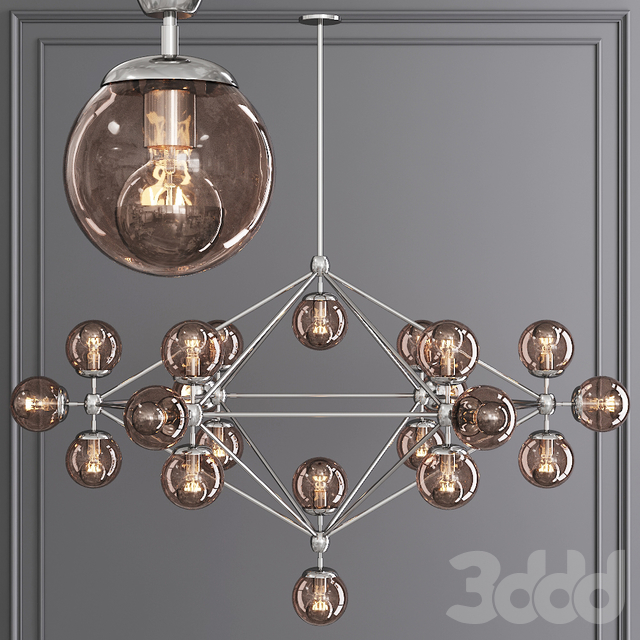 Modo 6 Sided Chandelier 21 Globes Polished Nickel and Smoke Glass