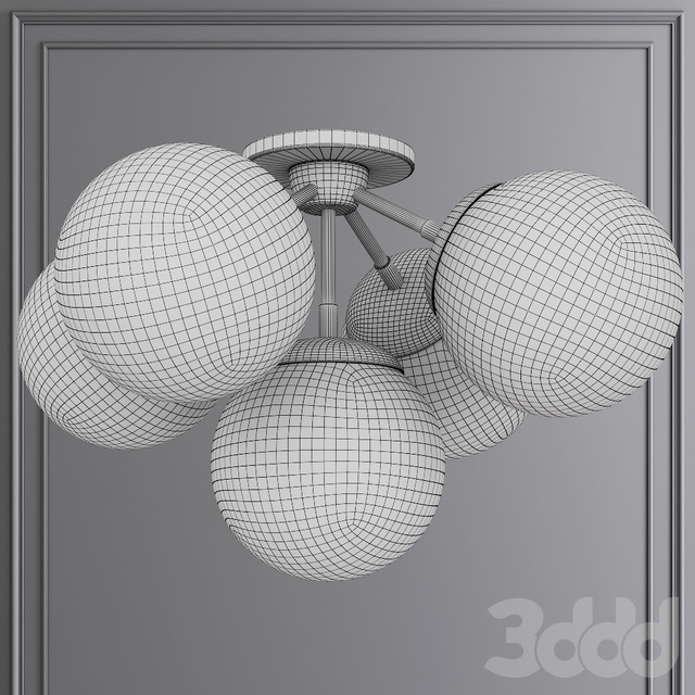 Modo Ceiling Mount 5 Globes Bronze and Gray Glass