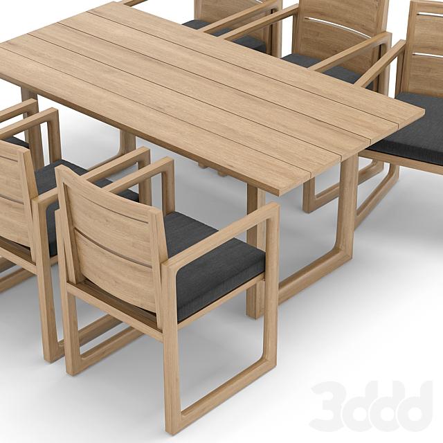 RH Outdoor restangular table-chair