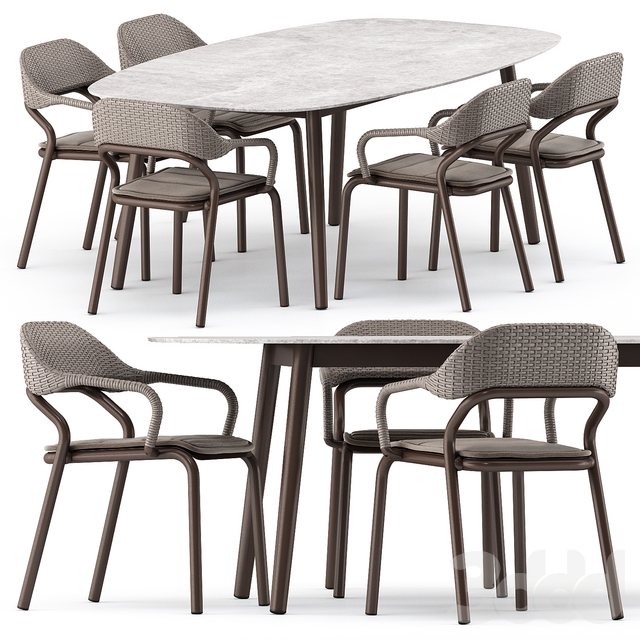 NOSS Armchair and ELLISSE table by varaschin