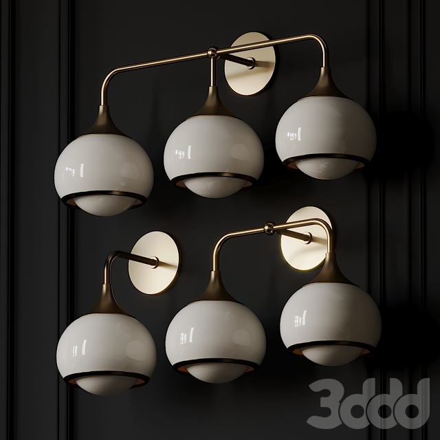 Reese 3-2-1-Light Aged Brass Wall Sconce