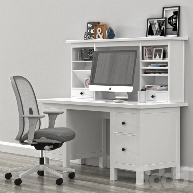 IKEA HEMNES Desk withh add-on unit and LINO office chair