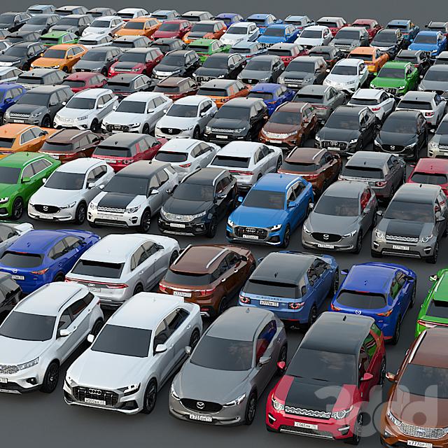Набор низкополигональных автомобилей 2