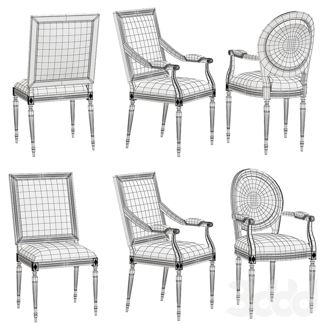 RH - Vintage French Square Cane Back Fabric Side Chair