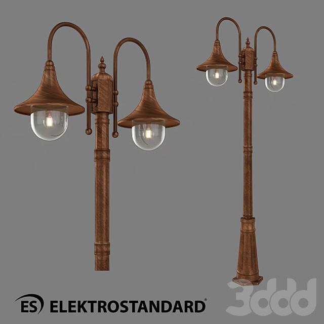 ОМ Уличный двухрожковый светильник на столбе Elektrostandard GL 1020F/2 Saga F/2