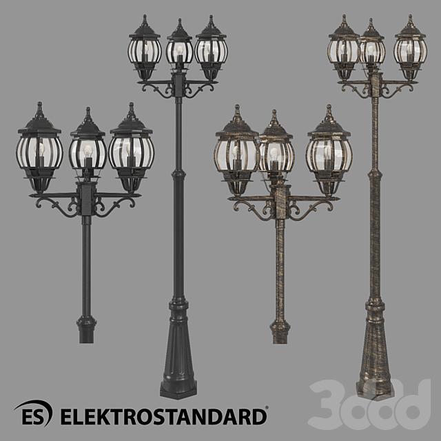 ОМ Уличный трехрожковый светильник на столбе Elektrostandard NLG99HL005