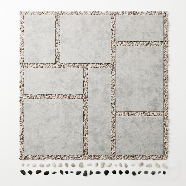 Tile square pebble  low 2 n1 / Площадь из плит с галькой