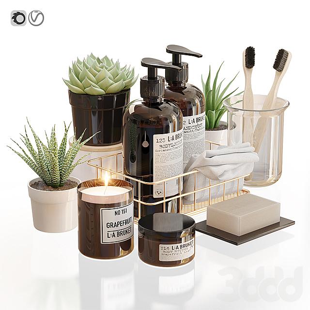 LA Bruket decor set for bathroom with flowerpots