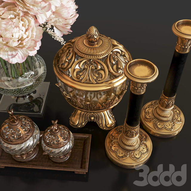 Decoration Set 26 Antique Vases and candlestick