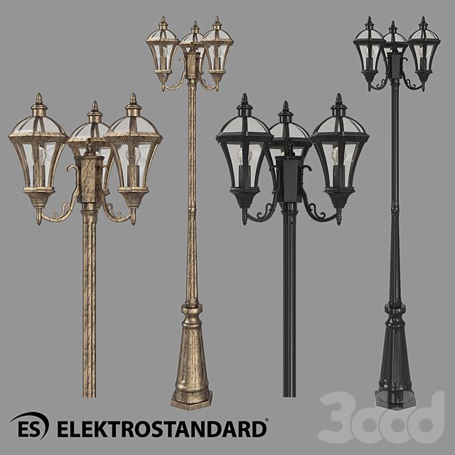 ОМ Уличный трехрожковый светильник на столбе Elektrostandard Capella F/3