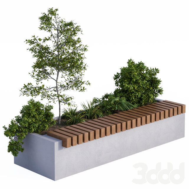 Urban Furniture / Architecture Bench with Plants Box01
