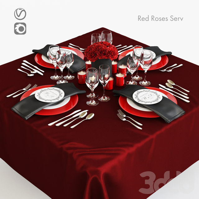 Сервировка с красными розами