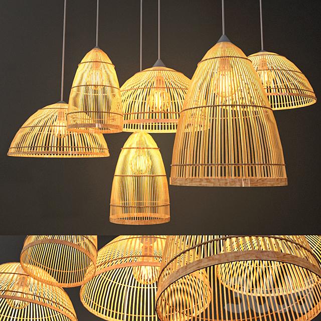 Rattan Lighting Set 3