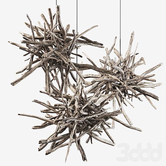 Branch decor lamp n1  / Люстры из веток