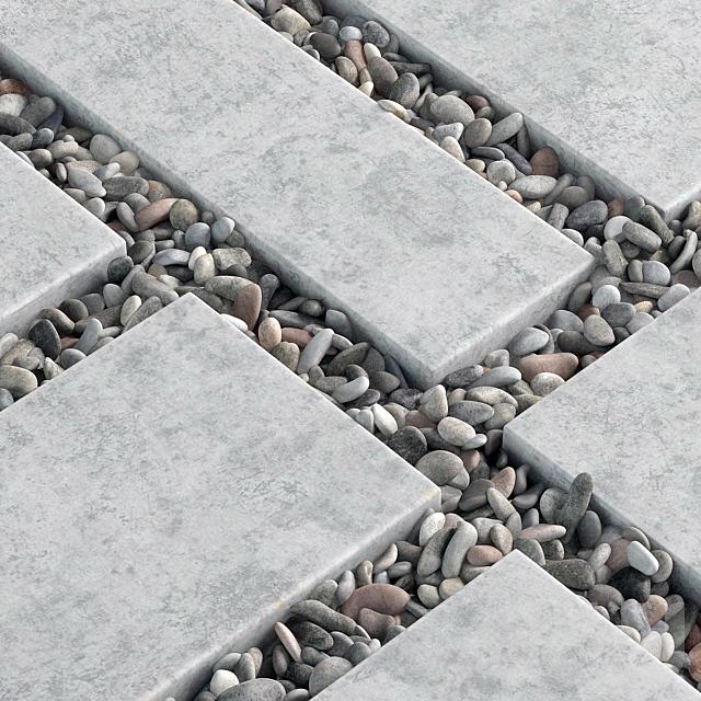 Tile square pebble n8 low / Площадь из плит с галькой